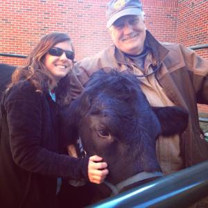 My father and I at an Ag in the Classroom Event recently teaching elementary kids about beef cattle.