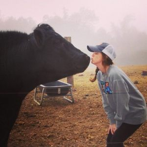 Michelle Bufkin with cow